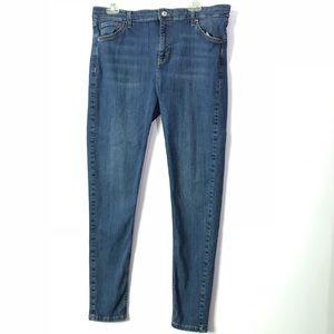 TOPSHOP Moto Jamie Skinny Medium Wash Jeans 36